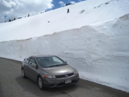 Snow Wall on Road