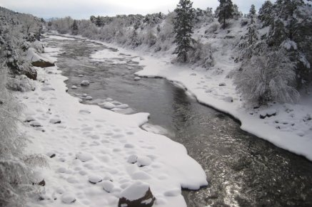 Snow on Arkansas River