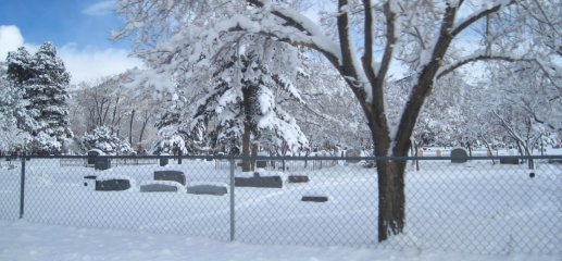 Snow In Cemetery